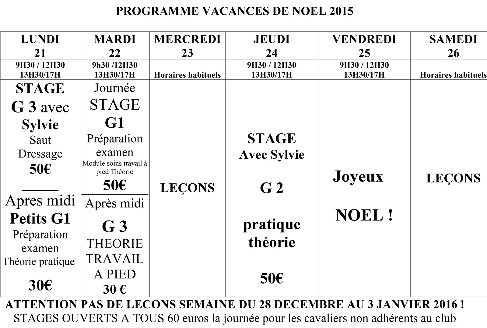 Stage Vacances De No L 2015 Club Hippique De La Louge